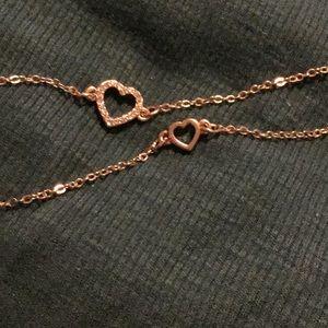 Set of 2 Heart Bracelet/Anklets